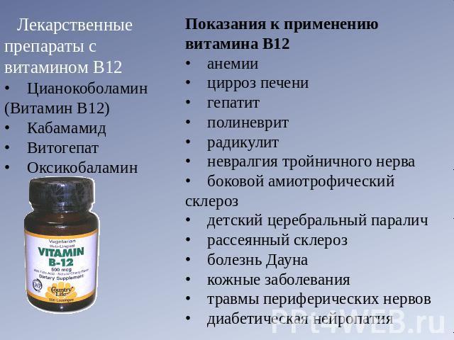 Показания к применению B12